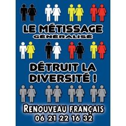 100 autocollants « Le métissage généralisé détruit la diversité »