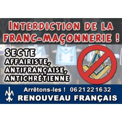 100 autocollants « Interdiction de la franc-maçonnerie »